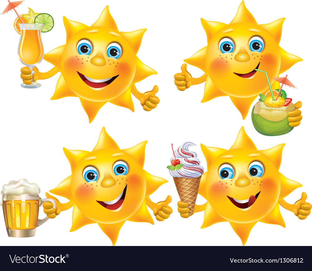 Funny sun with cool drinks and desserts vector | Price: 1 Credit (USD $1)