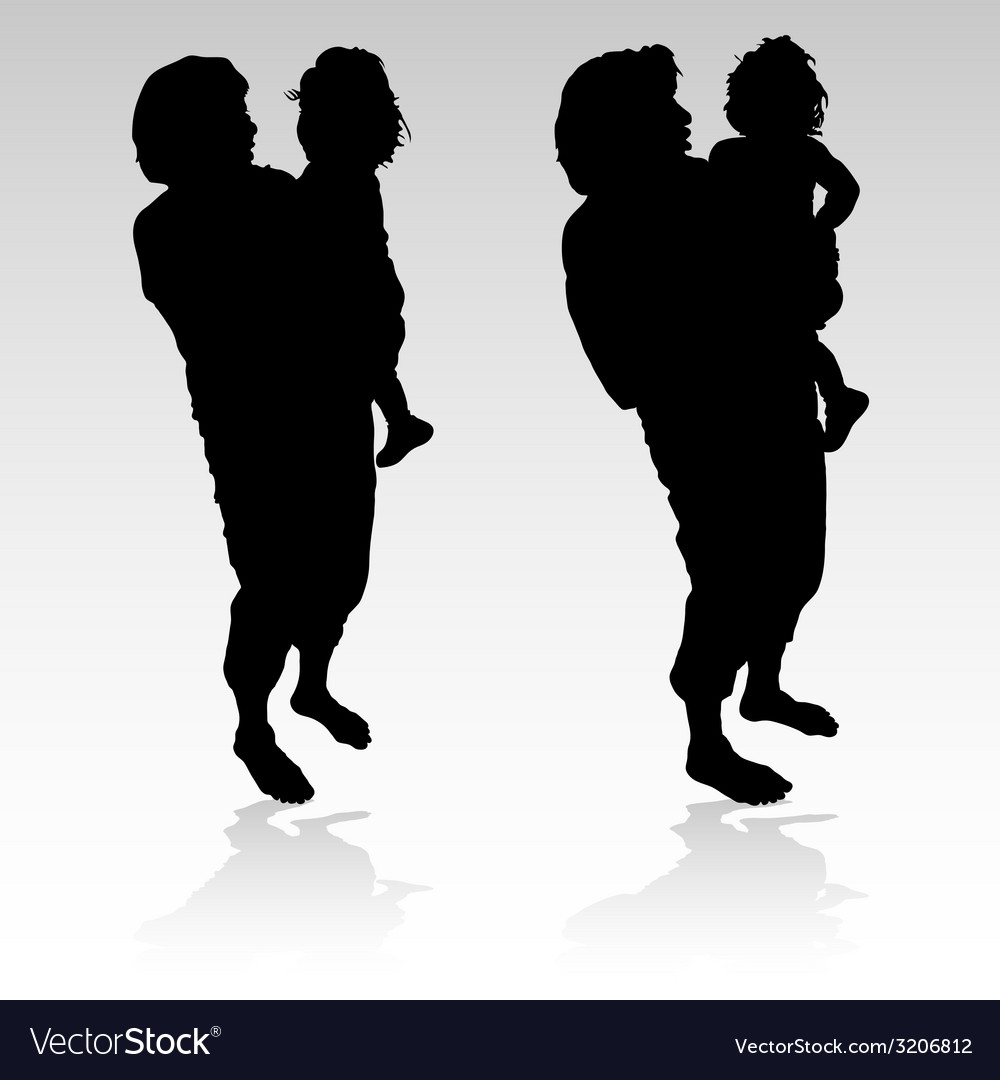 Grandmother holding a little girl black silhouette vector | Price: 1 Credit (USD $1)