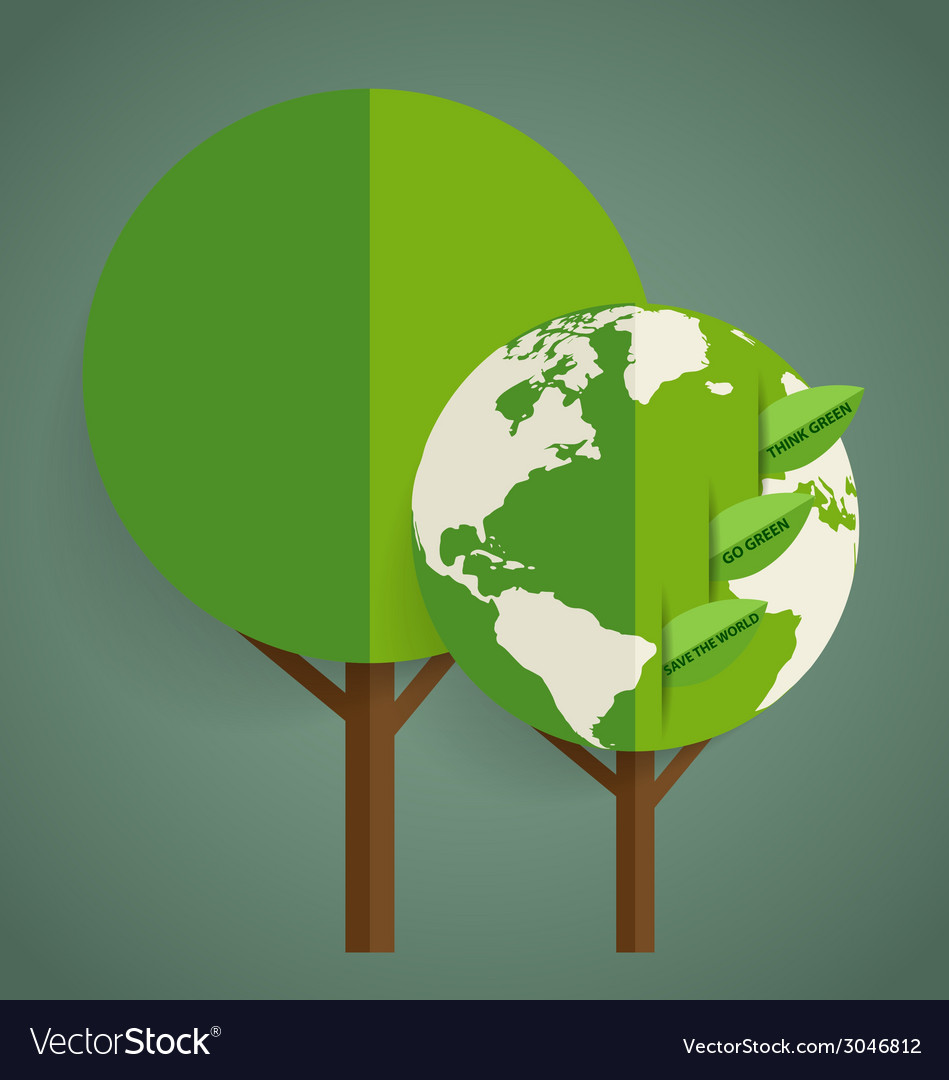 Green eco earth tree shaped world map vector | Price: 1 Credit (USD $1)