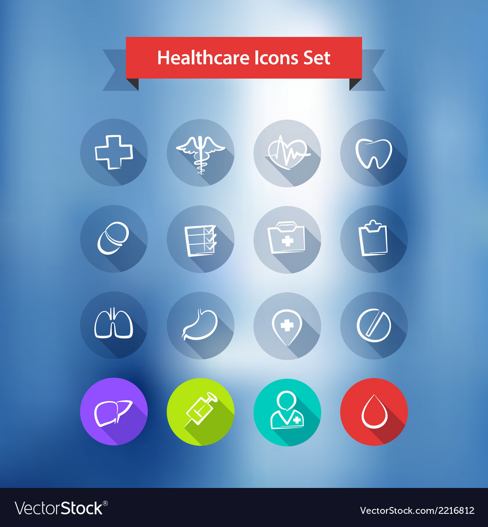 Hospital blur background with flat icons set vector | Price: 1 Credit (USD $1)