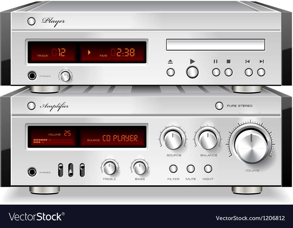 Music stereo audio cd player with amplifier vector | Price: 3 Credit (USD $3)