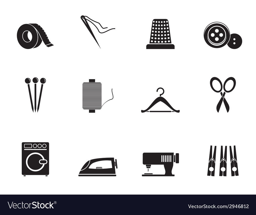 Silhouette textile objects and industry icons vector | Price: 1 Credit (USD $1)