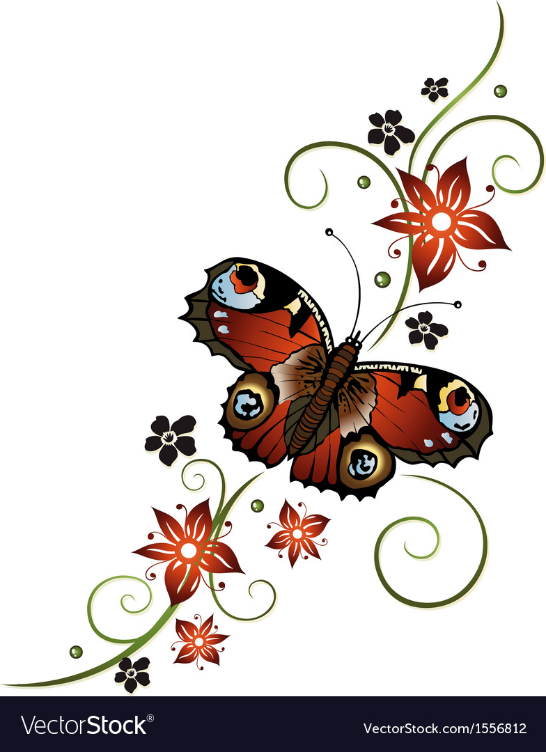 Tendril butterfly flowers vector | Price: 1 Credit (USD $1)