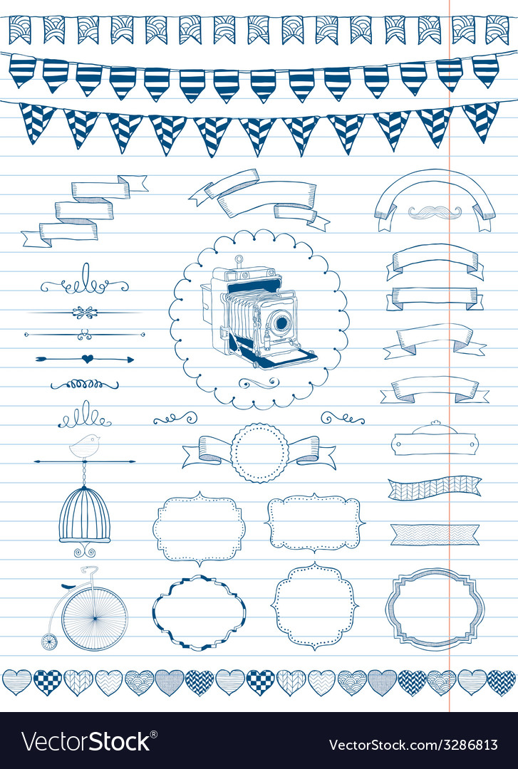Collection of banners ribbons and frames vector   Price: 1 Credit (USD $1)