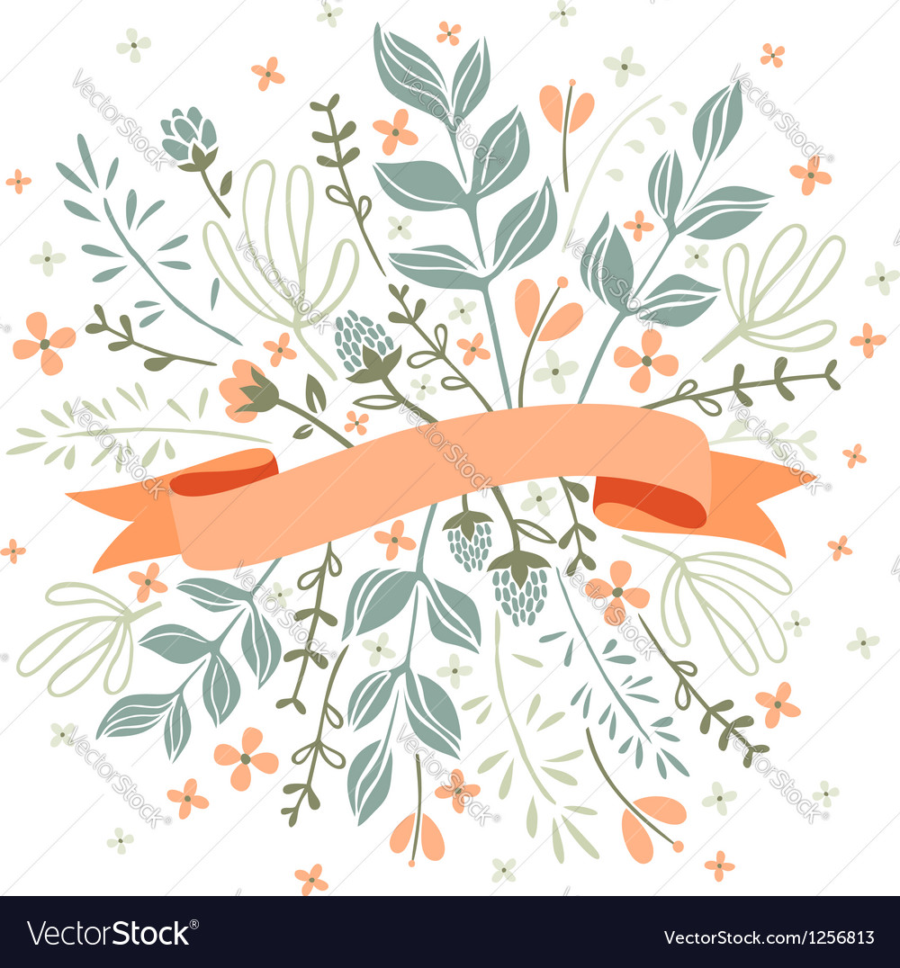 Florals and ribbon vector | Price: 1 Credit (USD $1)