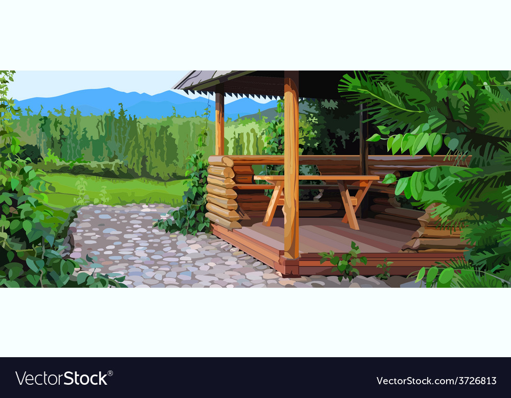 Gazebo landscape nature vector | Price: 3 Credit (USD $3)