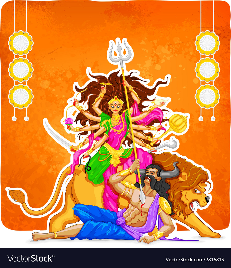 Goddess durga in subho bijoya happy dussehra vector | Price: 1 Credit (USD $1)