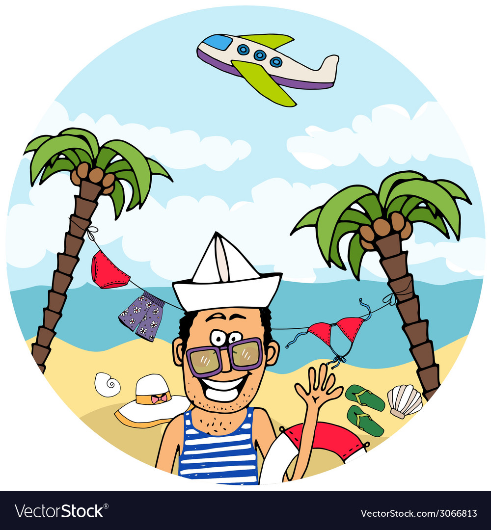 Happy tourist on a tropical vacation vector | Price: 1 Credit (USD $1)