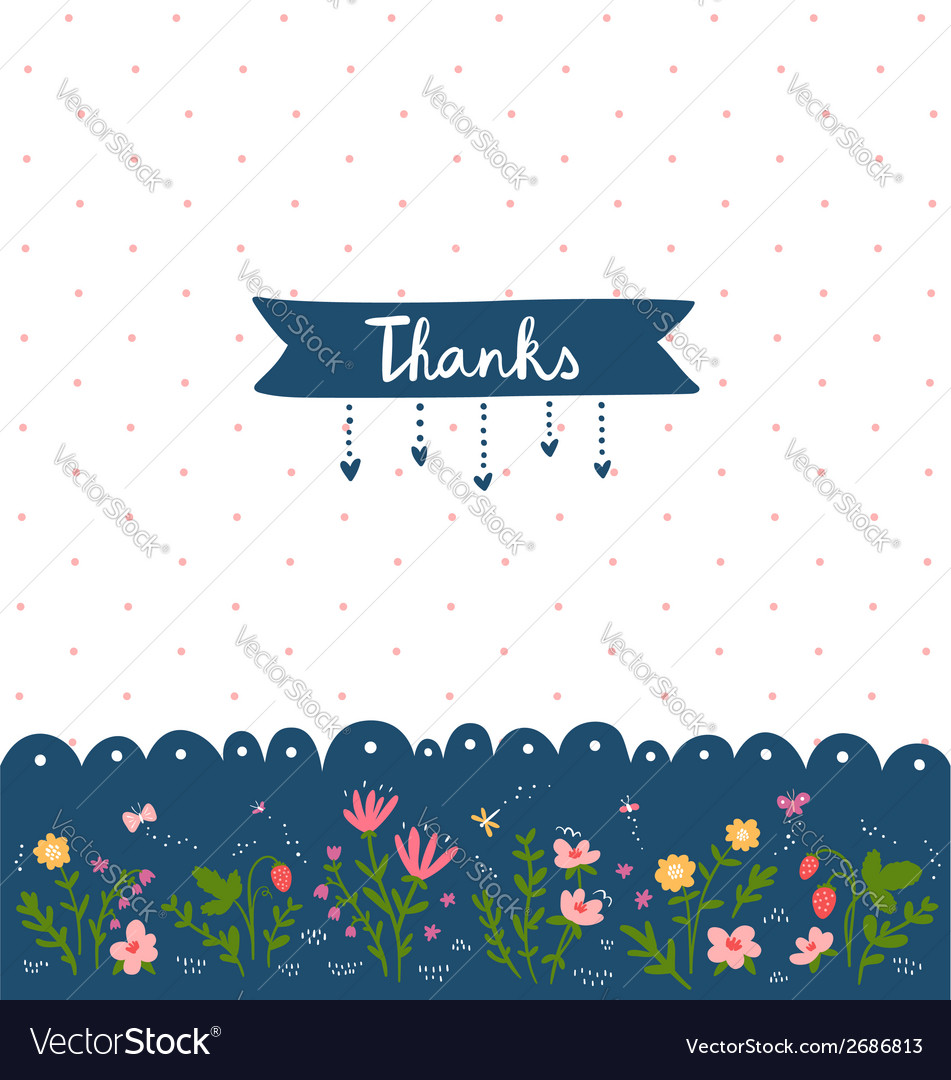 Thank you card with floral decorations vector | Price: 1 Credit (USD $1)