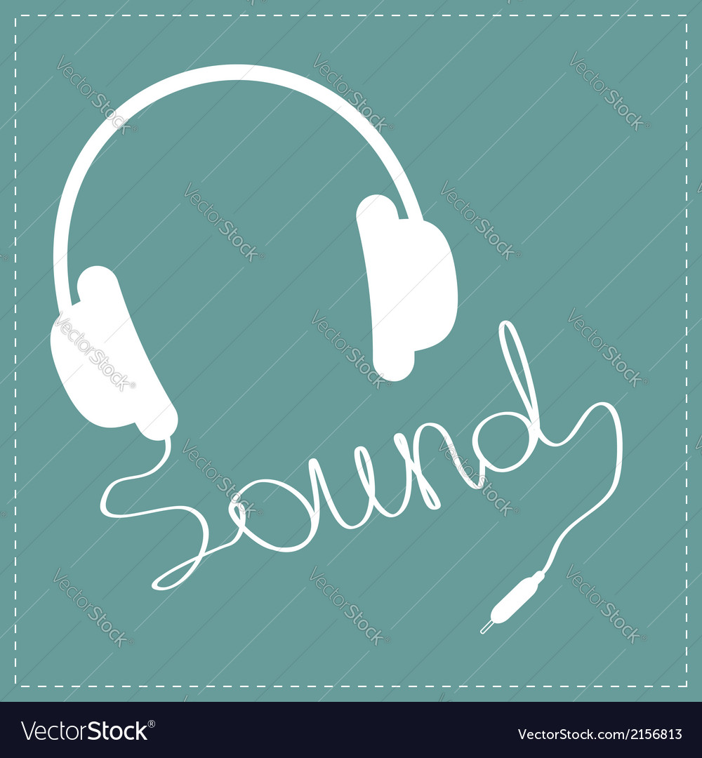 White headphones with cord in shape of word sound vector | Price: 1 Credit (USD $1)