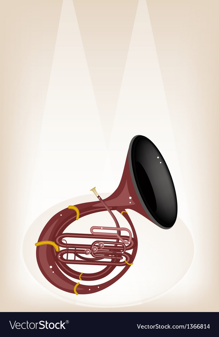 A musical sousaphone on brown stage background vector | Price: 1 Credit (USD $1)