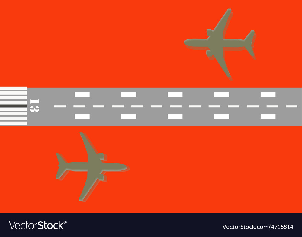 Airplane and number 13 of runway vector | Price: 1 Credit (USD $1)