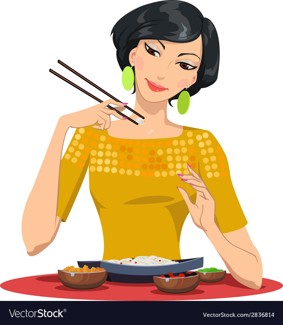 Beautiful girl eats with chopsticks vector | Price: 1 Credit (USD $1)