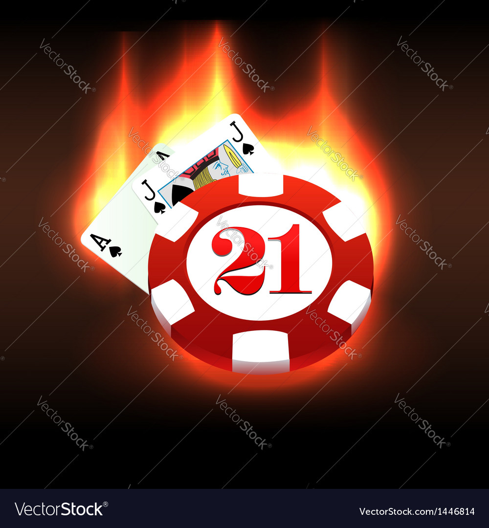 Burning casino chip and cards vector | Price:  Credit (USD $)