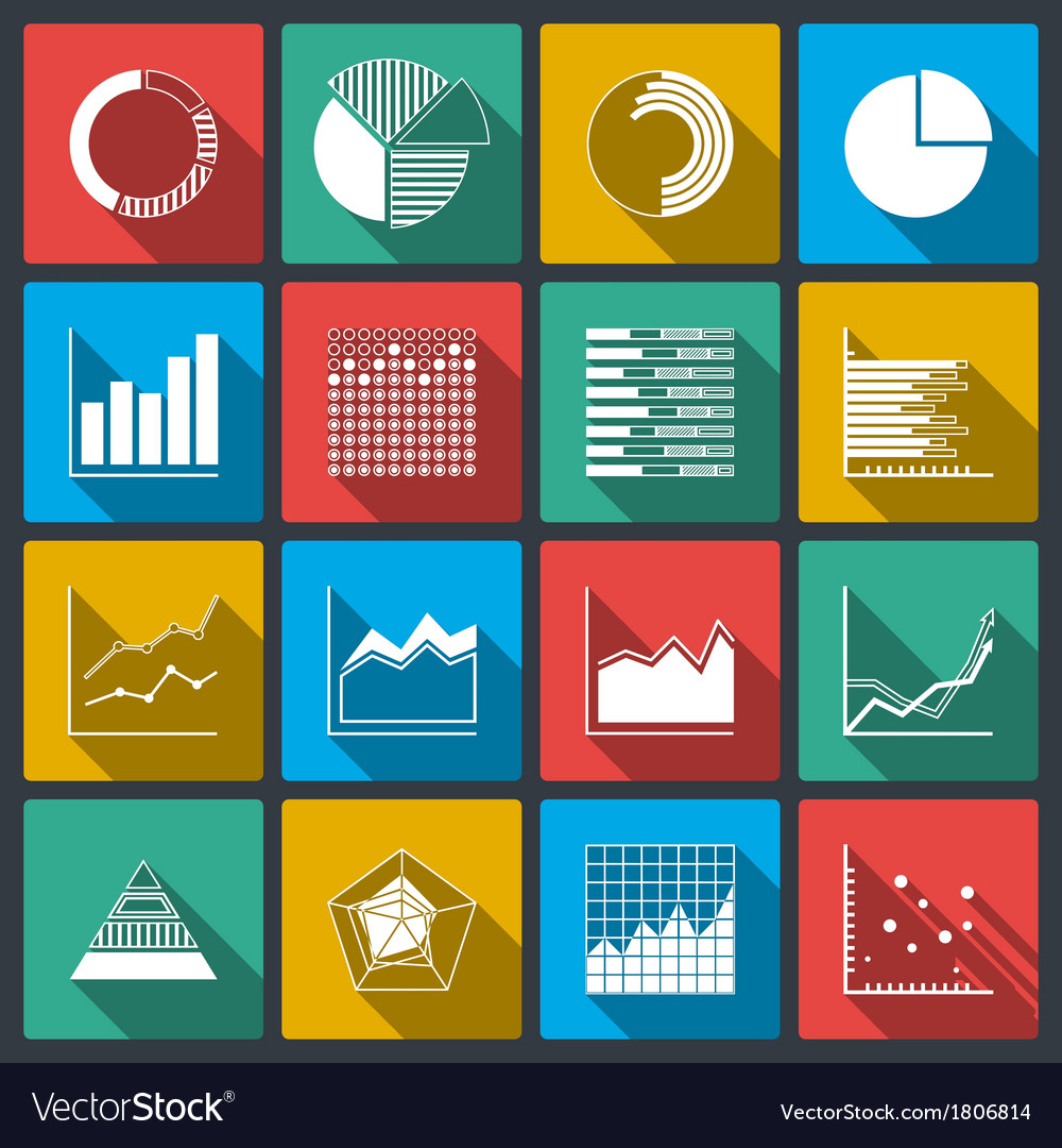 Business icons of ratings graphs and charts vector | Price: 1 Credit (USD $1)