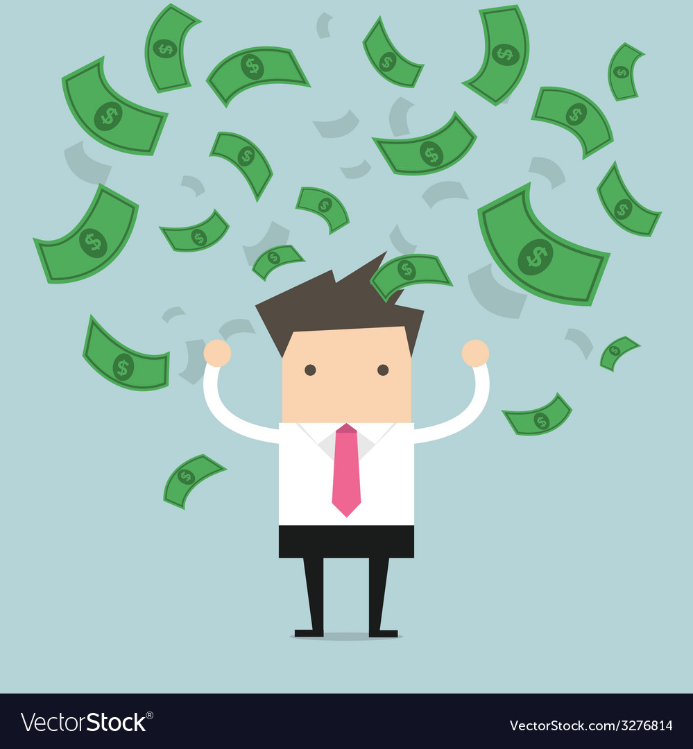 Businessman happy with a lot of banknote flowing vector | Price: 1 Credit (USD $1)