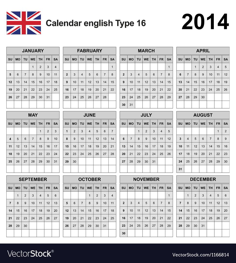 Calendar 2014 english type 16 vector | Price: 1 Credit (USD $1)