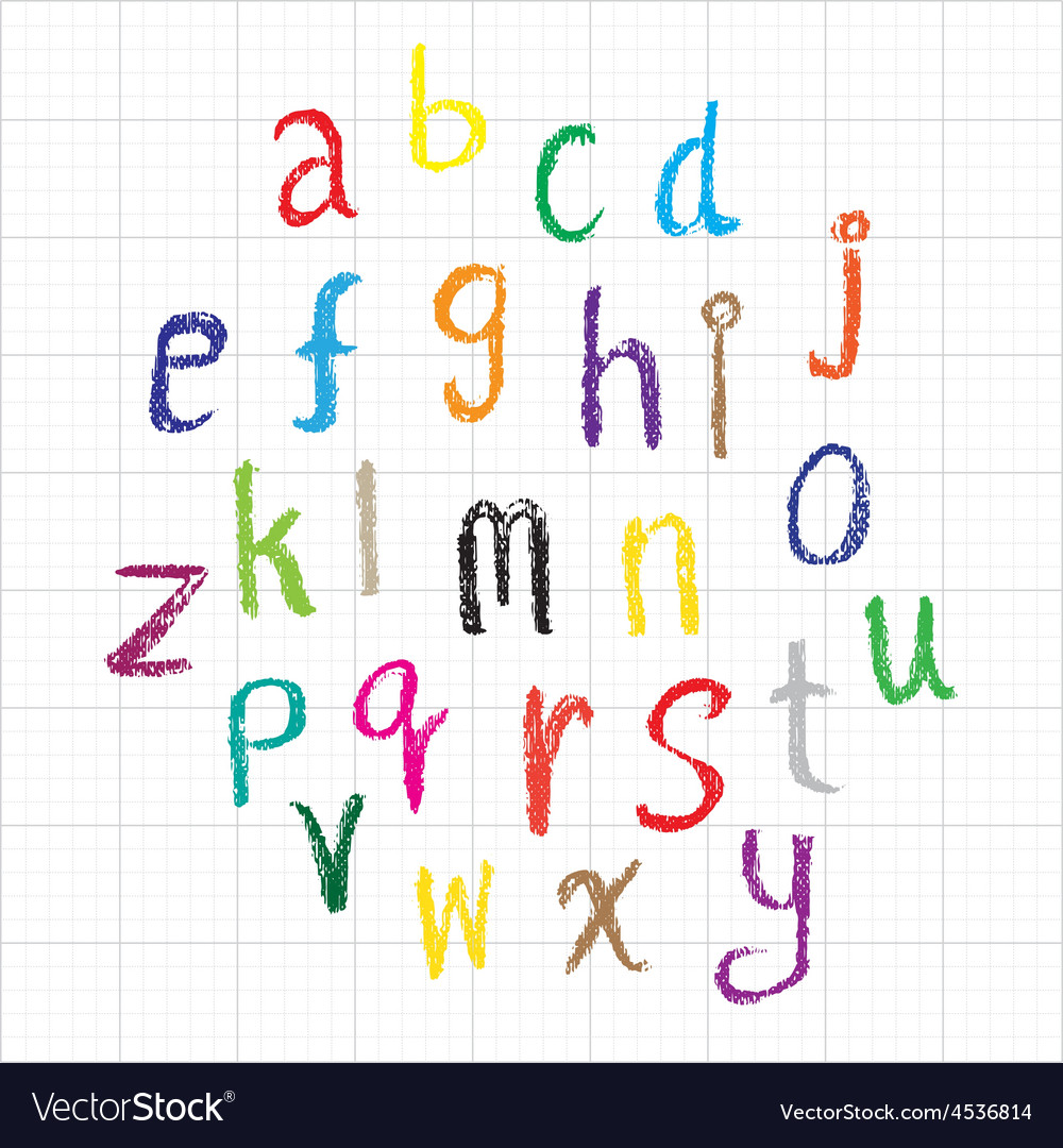 Child drawing of alphabet font made with wax crayo vector   Price: 1 Credit (USD $1)