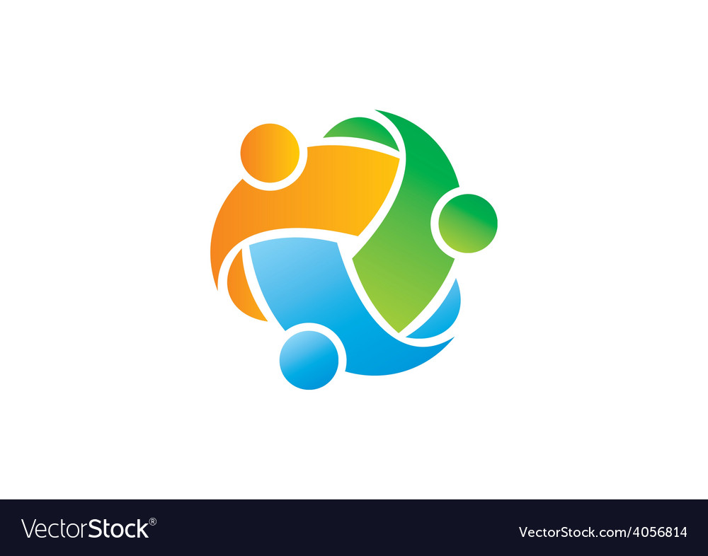 Circle three abstract people diversity logo vector | Price: 1 Credit (USD $1)