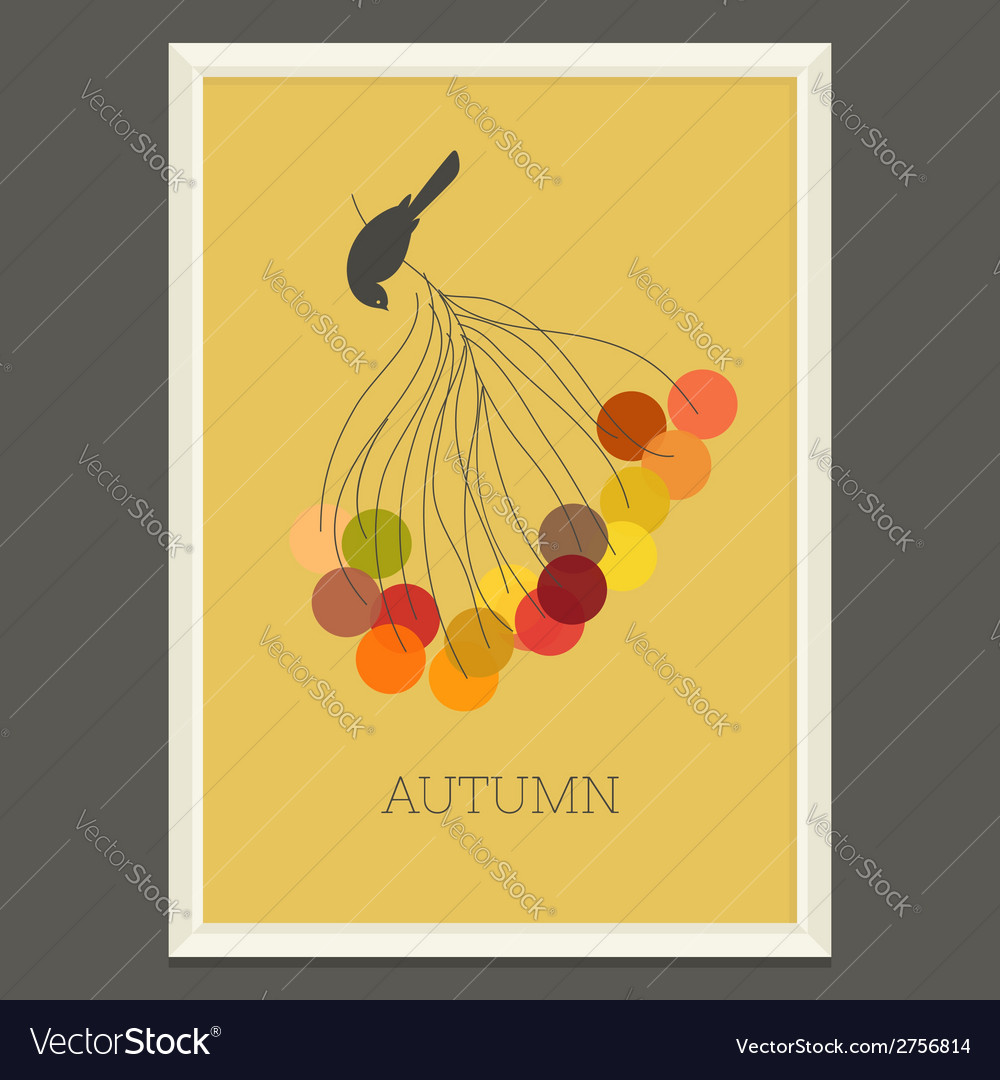 Colorful autumn poster with berries and bird vector | Price: 1 Credit (USD $1)