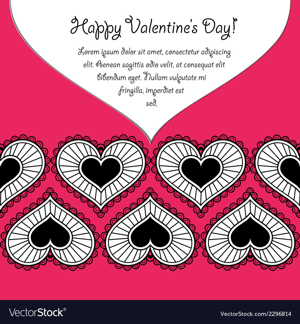 Happy valentines day card with lace hearts vector | Price: 1 Credit (USD $1)
