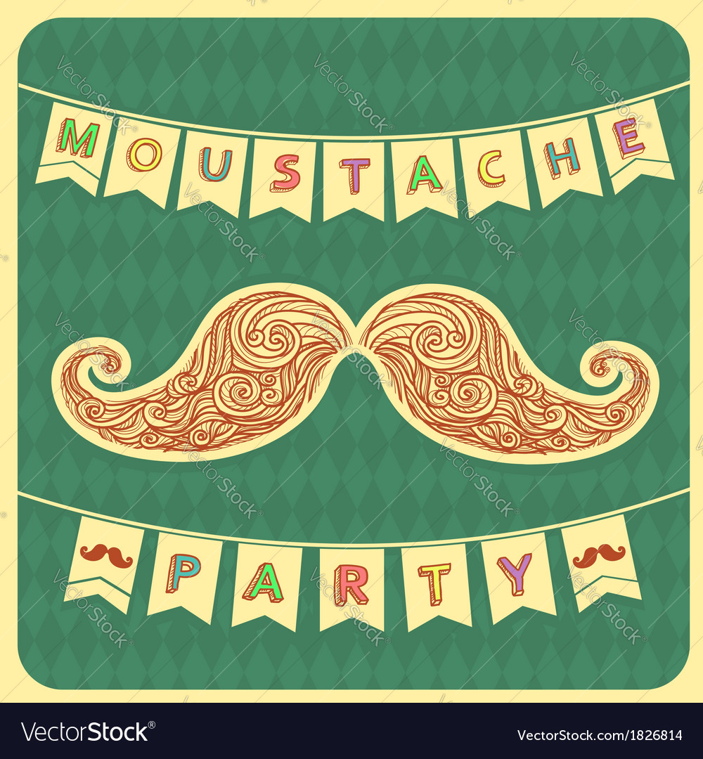 Moustache party background with text vector | Price: 1 Credit (USD $1)