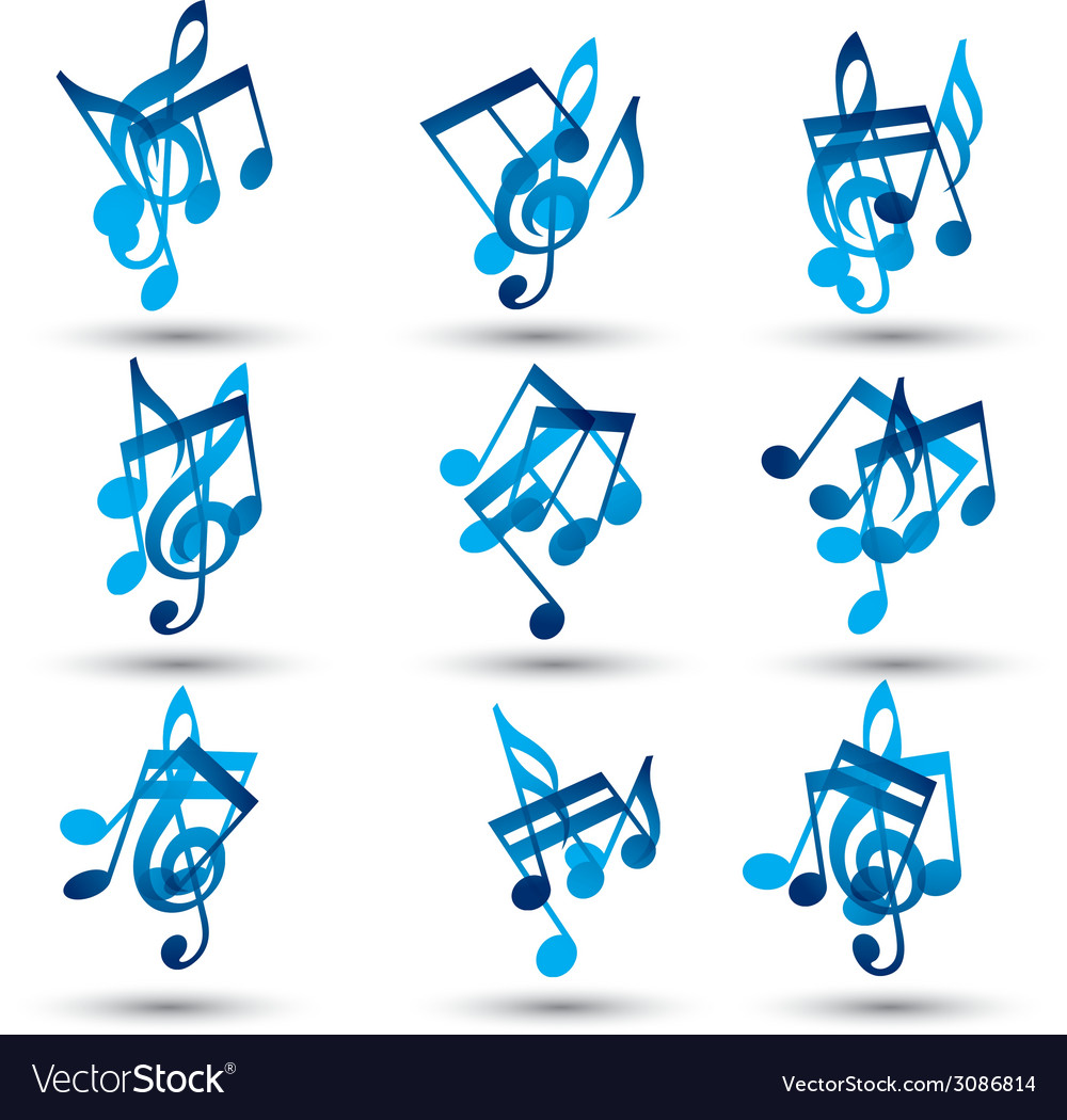 Set of blue abstract musical notes symbols vector | Price: 1 Credit (USD $1)
