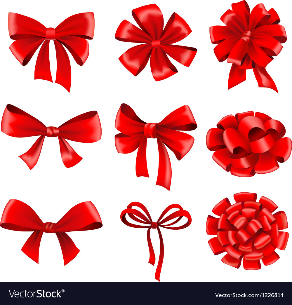 Set of red gift bows vector | Price: 1 Credit (USD $1)