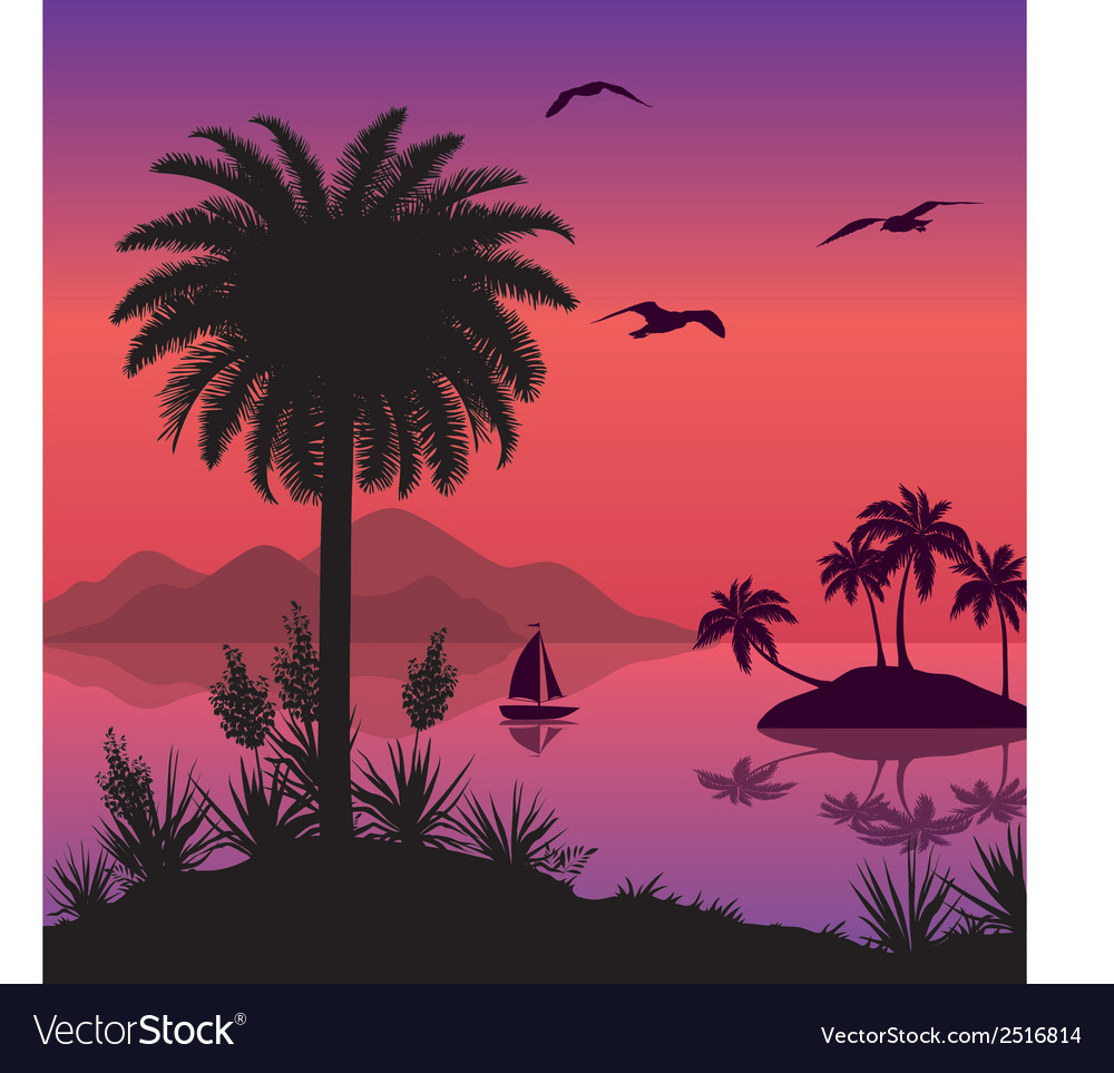 Tropical sea landscape with palms and ship vector | Price: 1 Credit (USD $1)