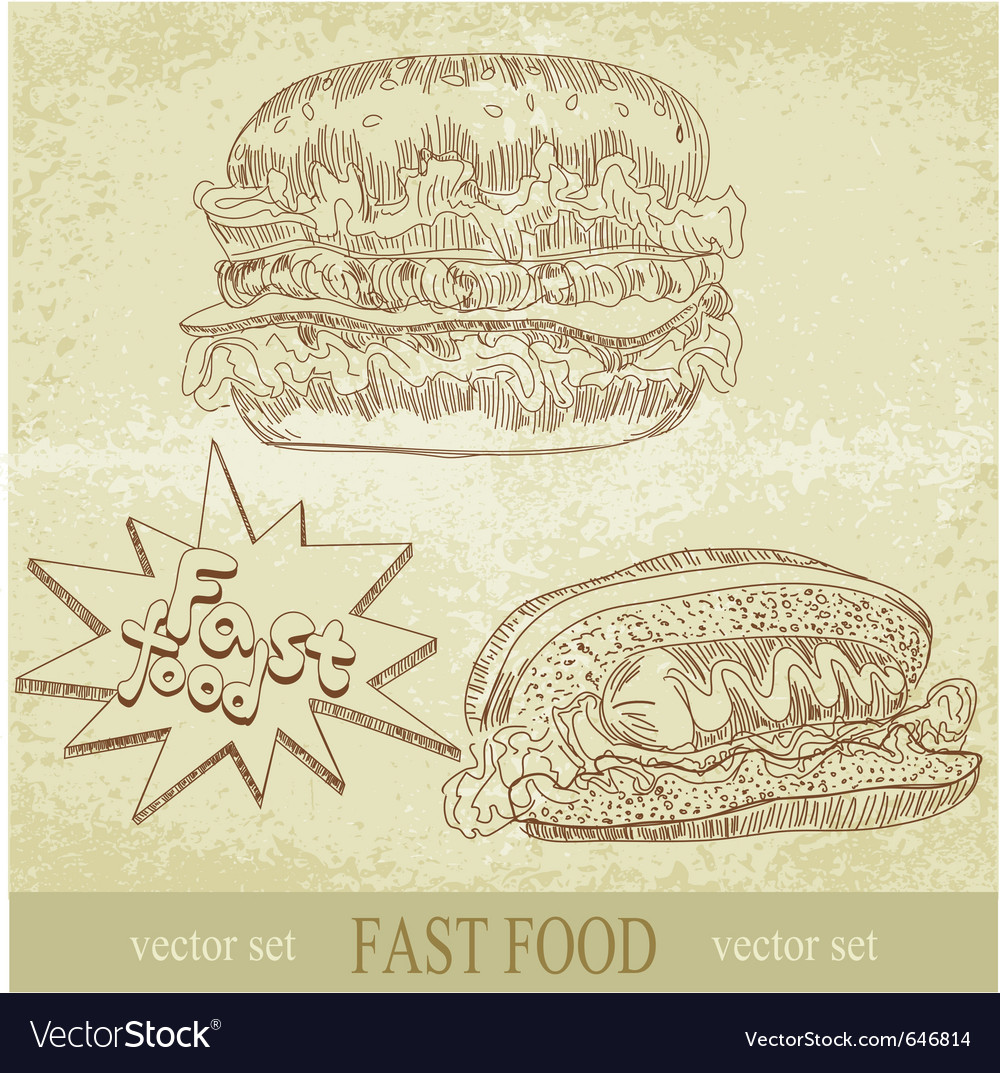 Vintage fast food vector | Price: 1 Credit (USD $1)