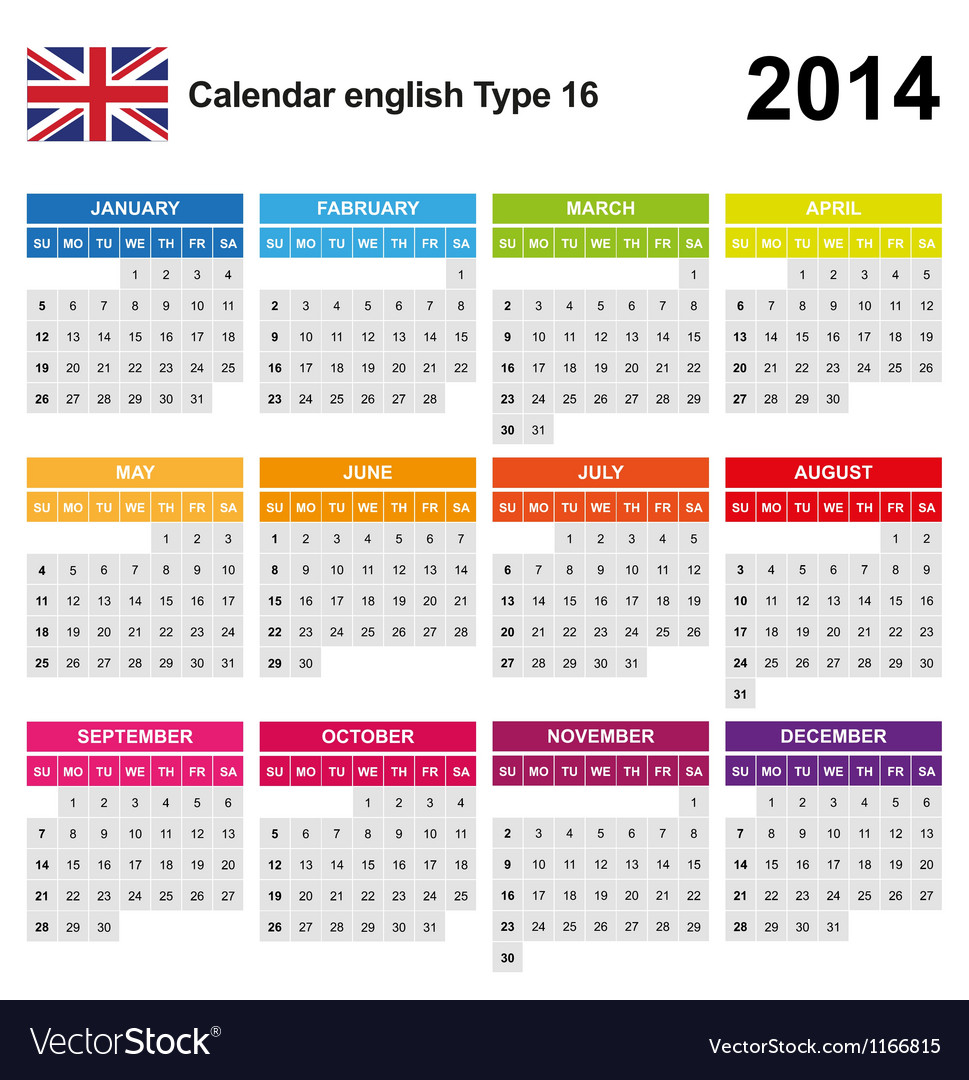 Calendar 2014 english type 16 vector | Price: 1 Credit (USD $1)