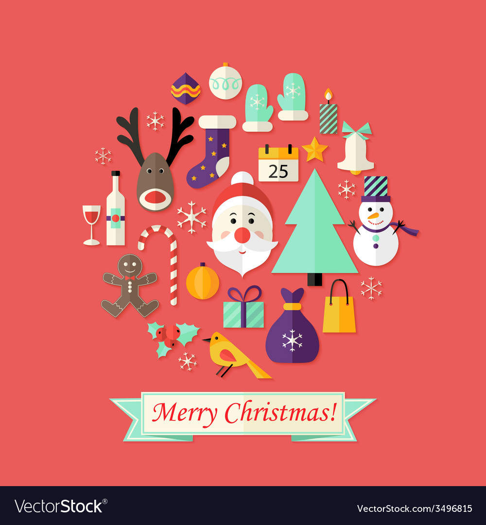 Christmas card with flat icons set and santa claus vector | Price: 1 Credit (USD $1)
