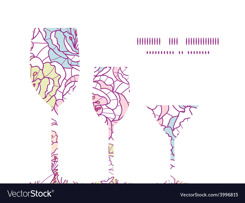 Colorful line art flowers three wine vector | Price: 1 Credit (USD $1)