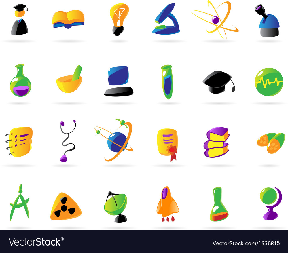 Colorful science education and medical icons vector | Price: 1 Credit (USD $1)