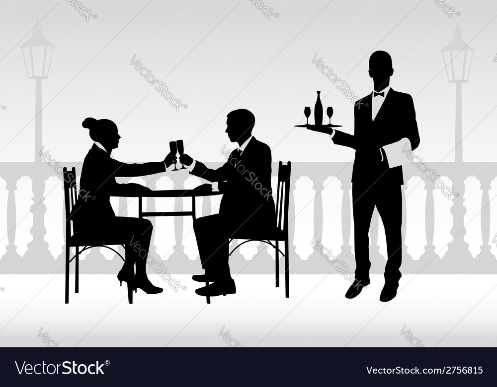 Couple in restaurant vector | Price: 1 Credit (USD $1)