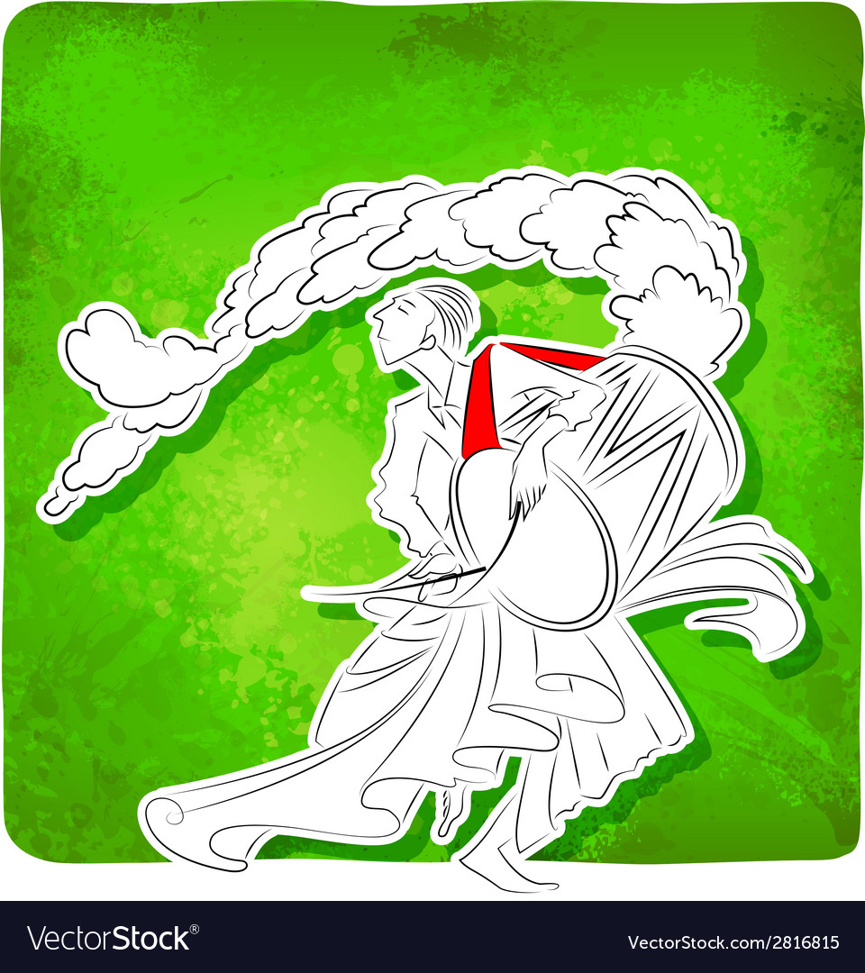 Drummer playing dhol in durga puja vector | Price: 1 Credit (USD $1)