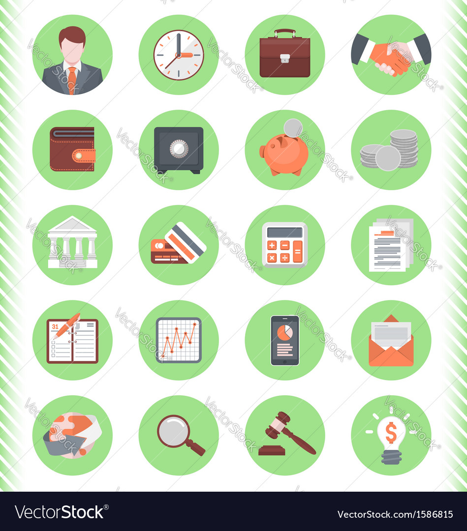 Financial and business icons green set vector | Price: 1 Credit (USD $1)