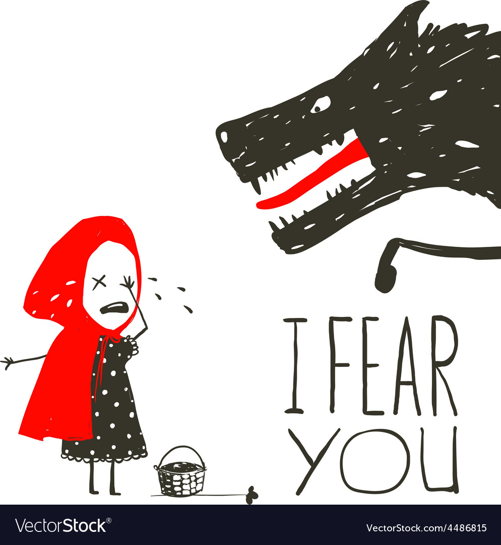 Little red riding hood crying and black scary vector | Price: 1 Credit (USD $1)