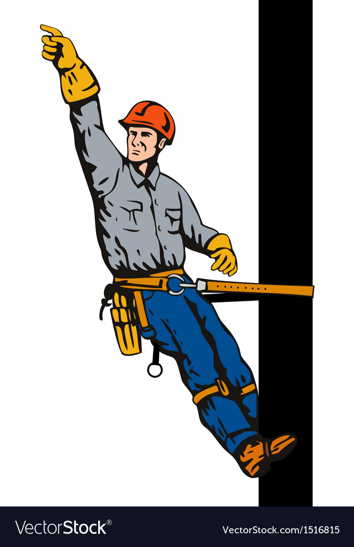 Power lineman on pole vector