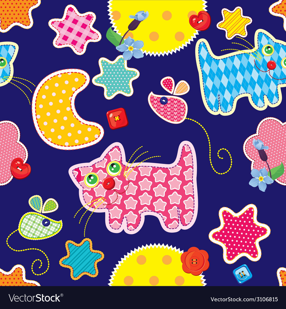 Seamless pattern - sweet dreams - cat mouse stars vector | Price: 1 Credit (USD $1)