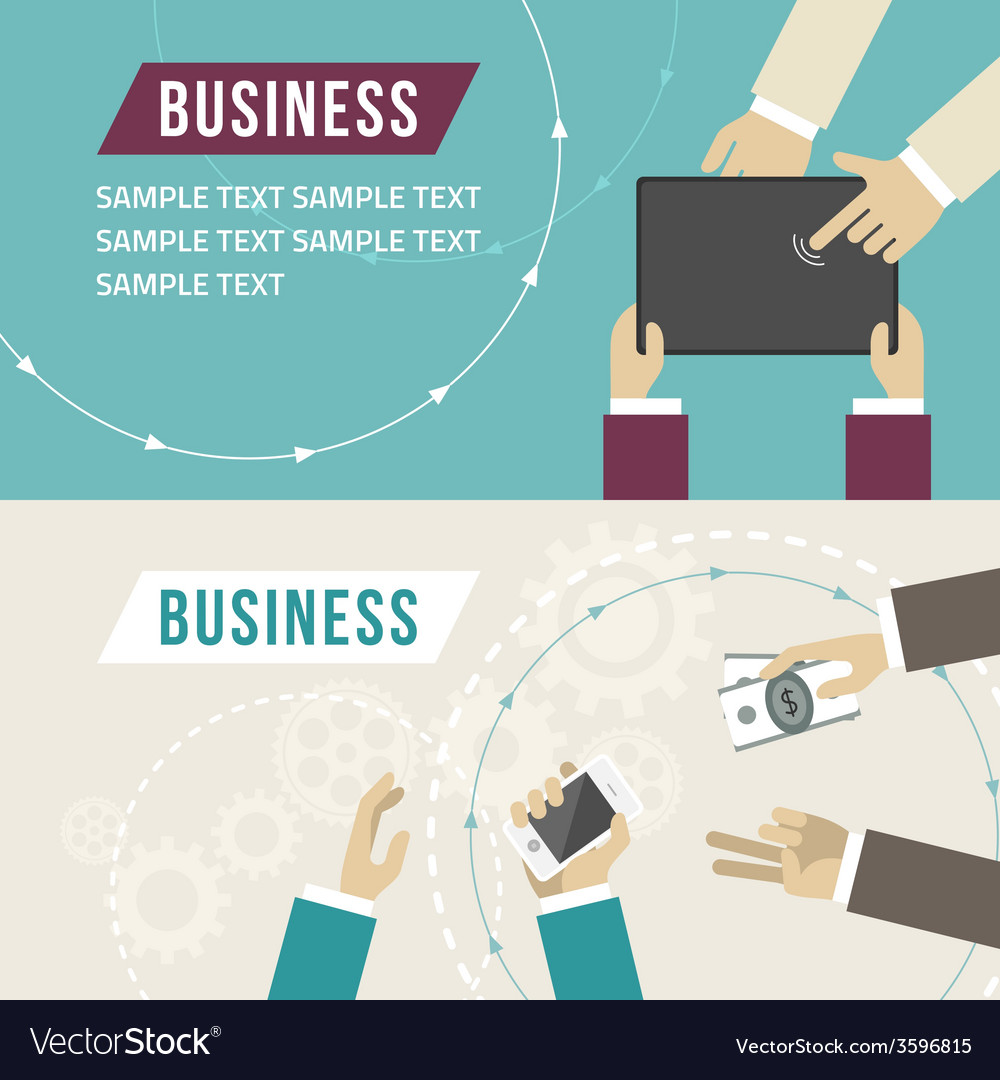 Set of flat design business hands touch di vector | Price: 1 Credit (USD $1)