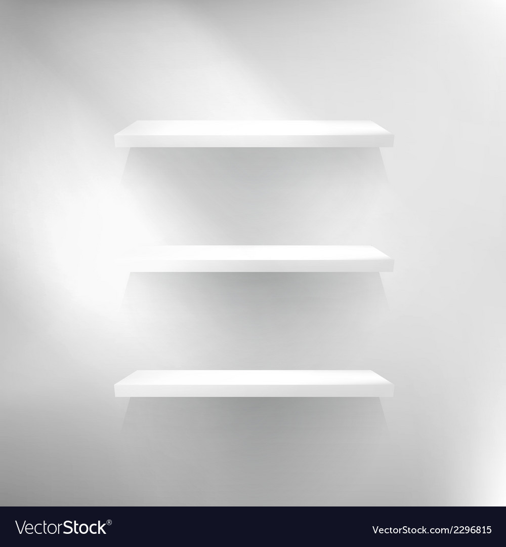 Three white empty shelves vector | Price: 1 Credit (USD $1)