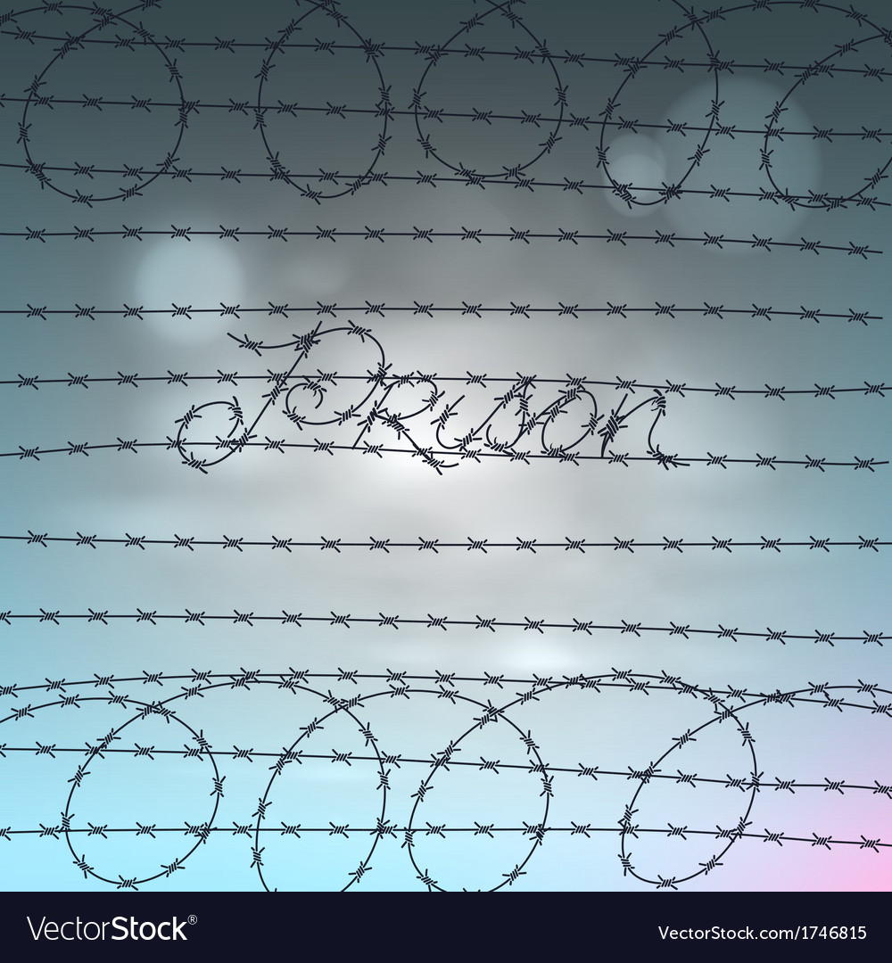 Word prison written by a barbed wire vector