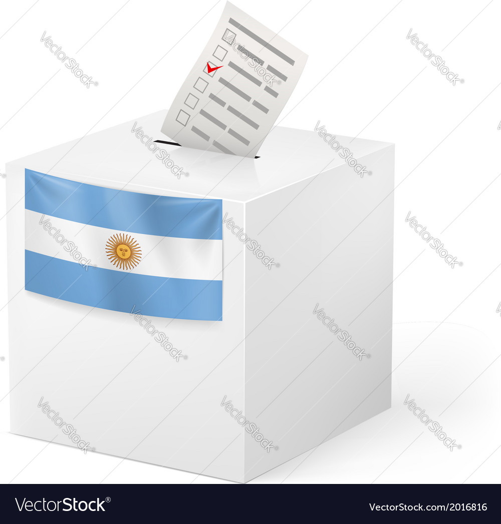 Ballot box with voting paper argentina vector | Price: 1 Credit (USD $1)