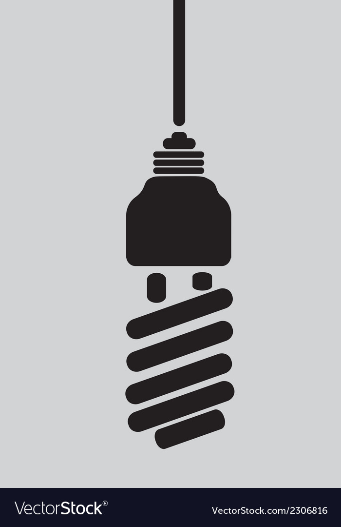 Black silhouette of ecological light bulb vector   Price: 1 Credit (USD $1)