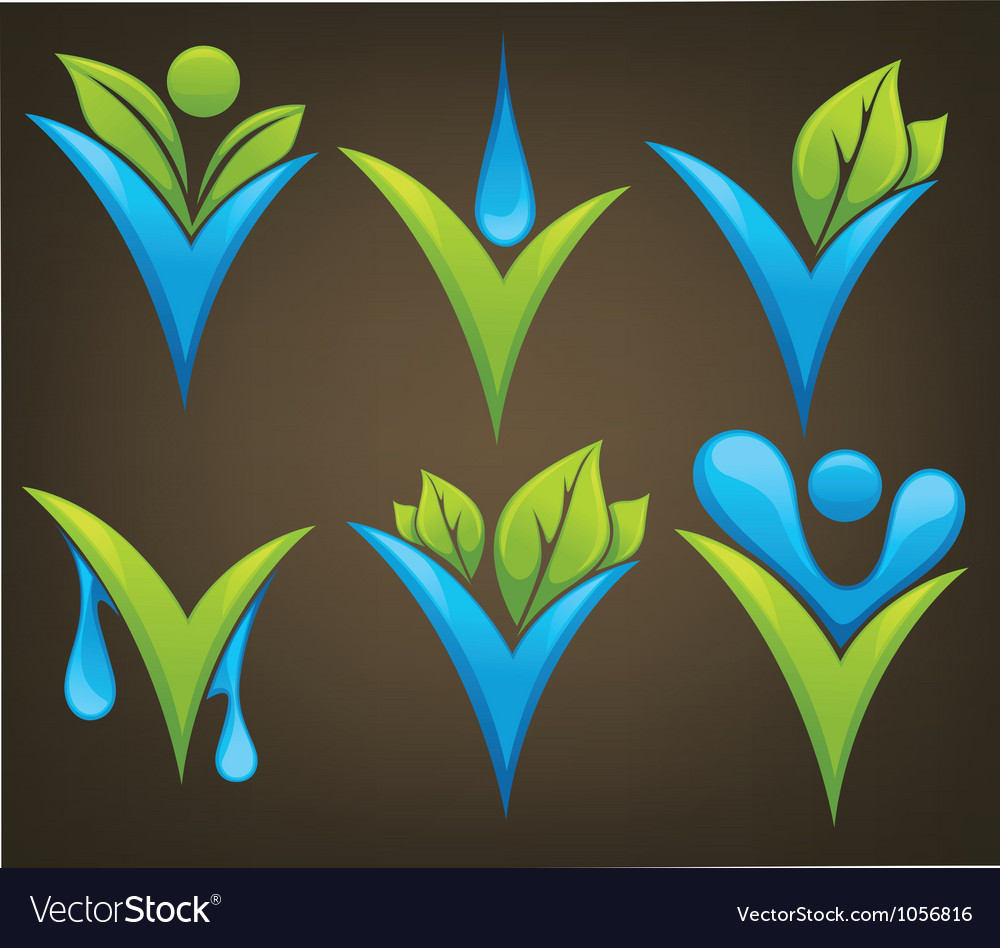 Drop and leaves signs and marks vector | Price: 1 Credit (USD $1)