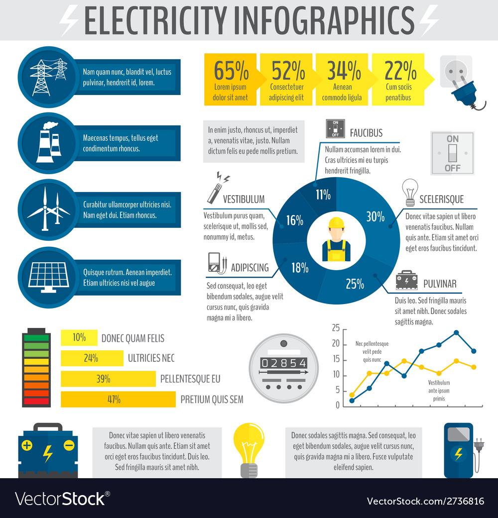 Electricity infographic vector | Price: 1 Credit (USD $1)