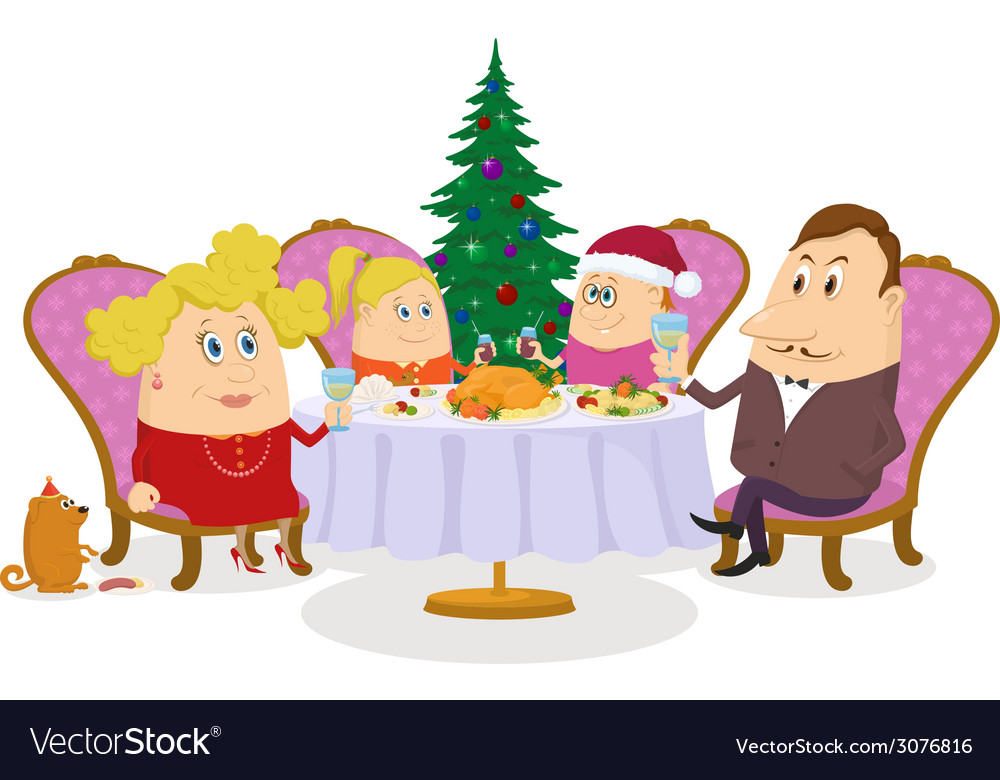 Family celebrating christmas isolated vector | Price: 1 Credit (USD $1)