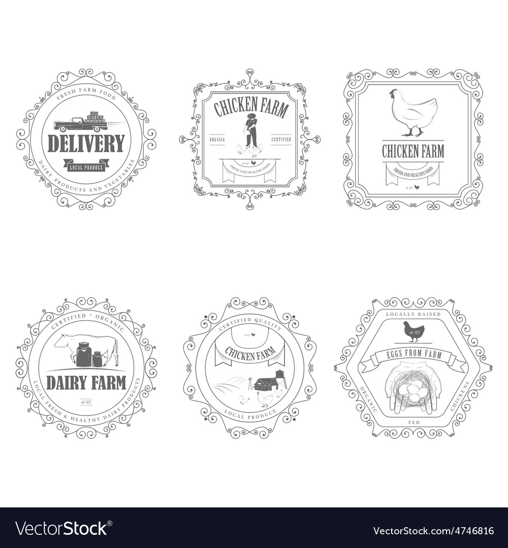 Farm products badges with ornament vector | Price: 1 Credit (USD $1)