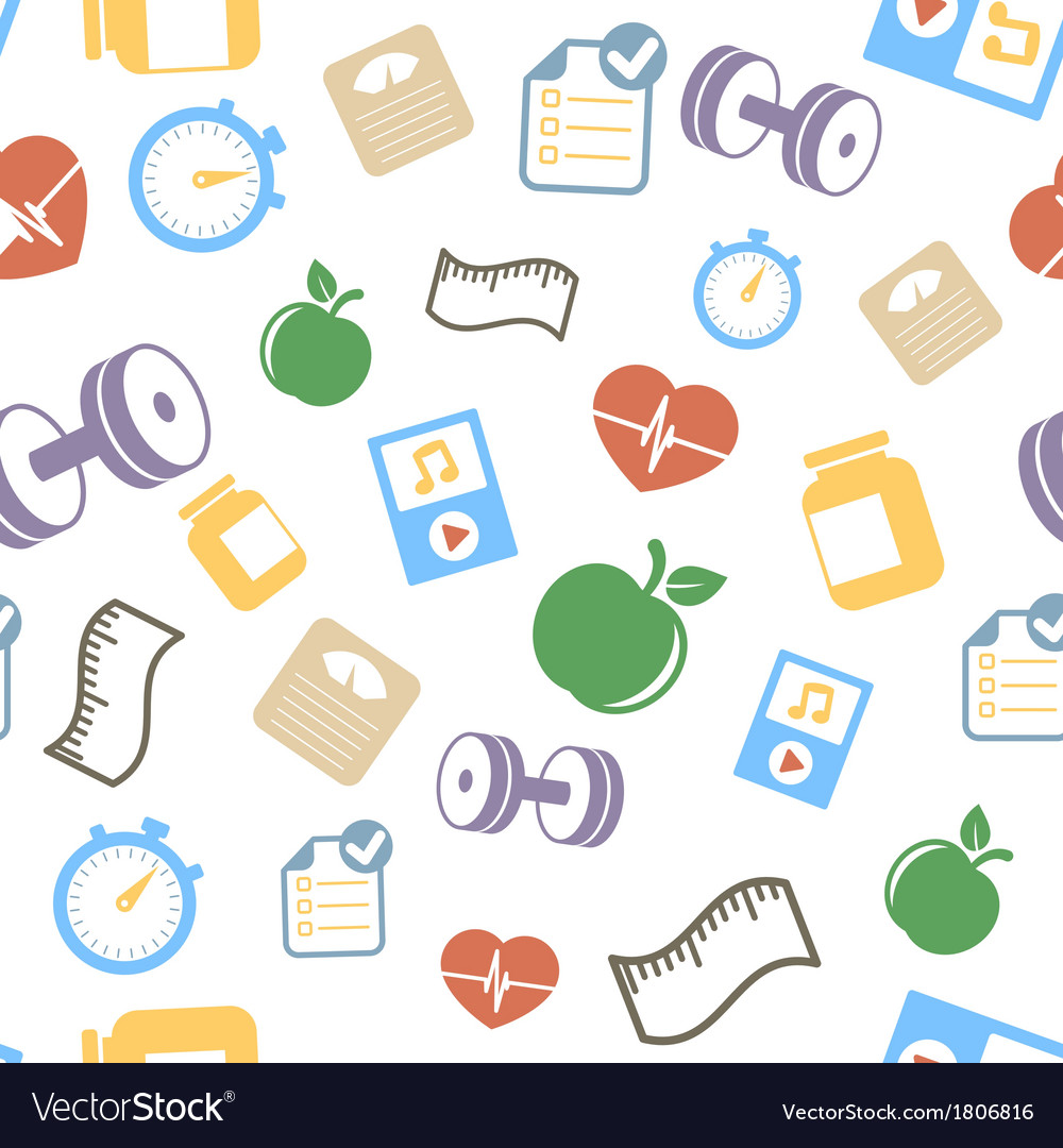 Healthy lifestyle elements background pattern vector | Price: 1 Credit (USD $1)